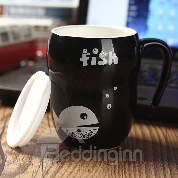 Creative Simple Fish Pattern Coffee Mug Gift Idea