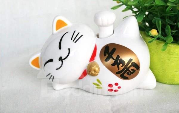 Creative Solar Powered Designed Horizontal Waving Lucky Cat Car Decor