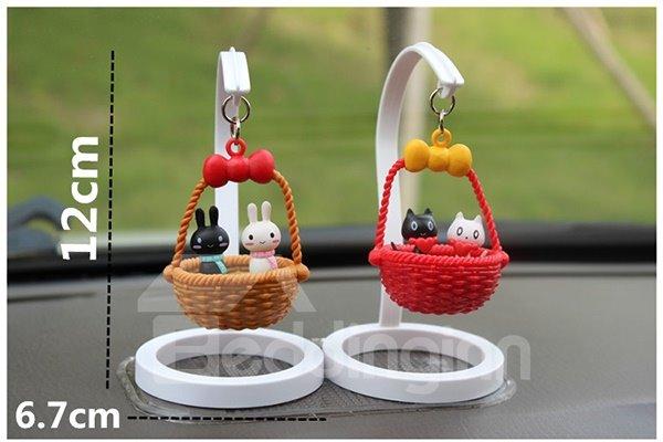 Creative Bear In Basket Cartoon Stand Car Decor