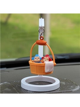 Creative Monkey In Bucket Cartoon Stand Car Decor