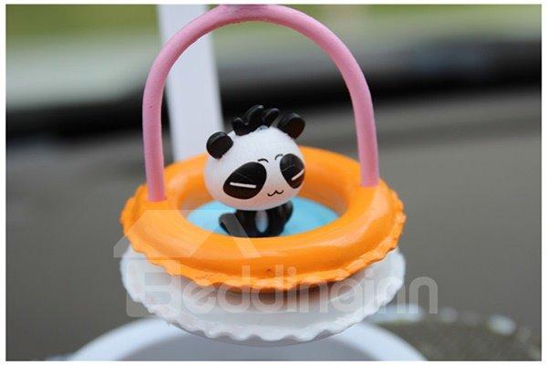 Creative Panda In Swim Ring Cartoon Stand Car Decor