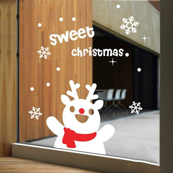Festival Christmas Window Decoration Cute Snowman Removable Wall Sticker