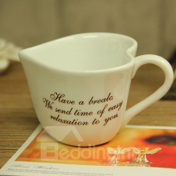 Classic Chic Heart Shaped Letters Ceramic Coffee Mug
