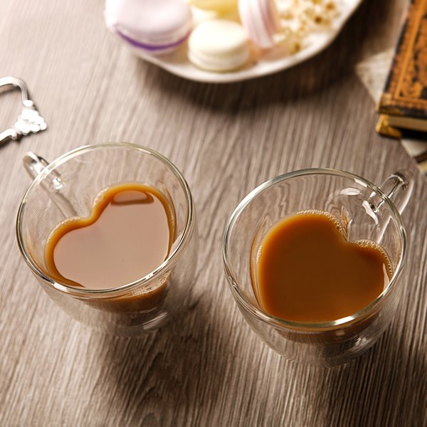 Romantic Heart Shaped 1 Pair Glass Coffee Cups Gift Ideas