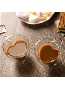 Romantic Heart-Shaped 1-Pair Glass Coffee Cups Gift Ideas