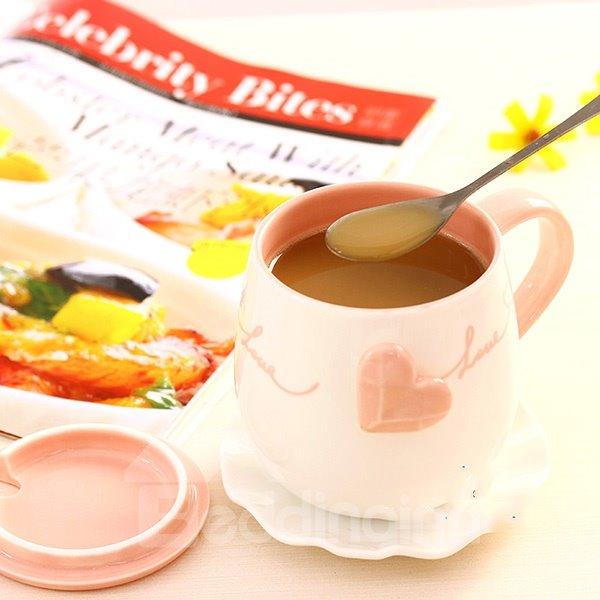 Wonderful Heart-Shape Relief Pattern Ceramic Coffee Mug