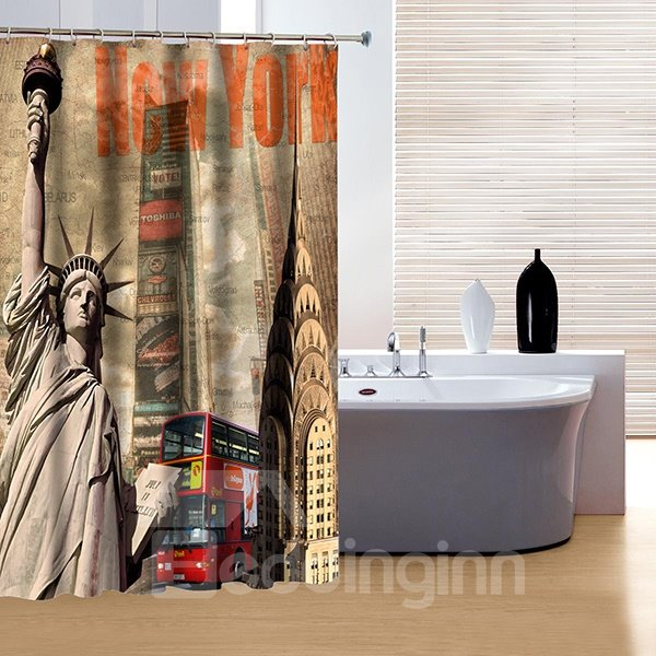 Fashion Unique New York The Statue of Liberty 3D Shower Curtain