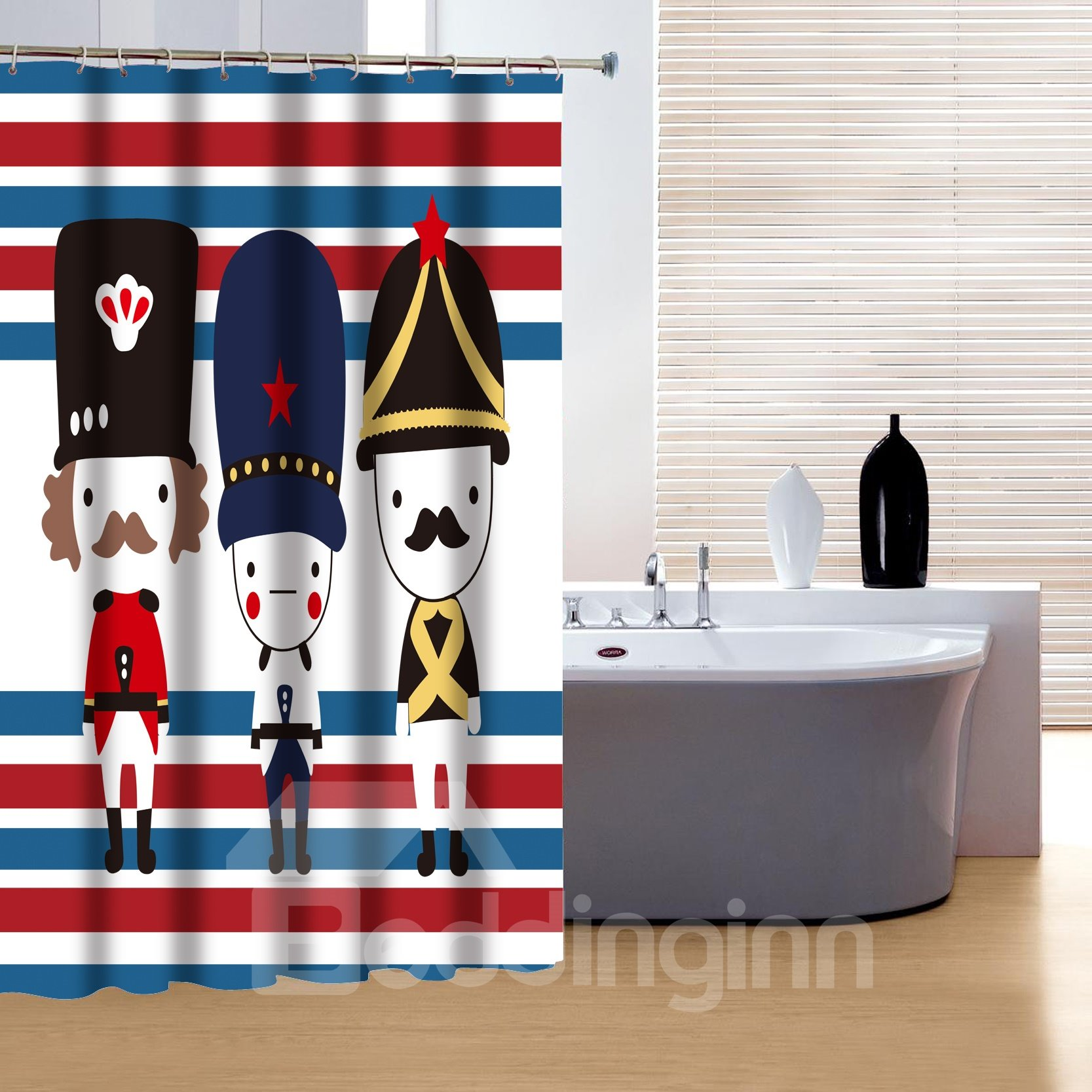 Creative Concise Three Lovely Soldiers Print 3D Shower Curtain