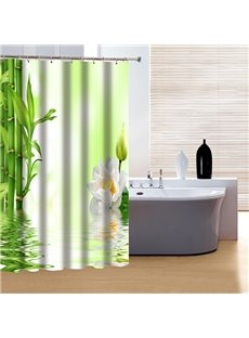 Fresh Chinoiserie Style Bamboo and Lotus 3D Shower Curtain
