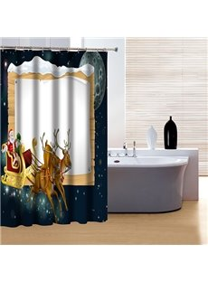 New Arrival Christmas Santa and Deers Print 3D Shower Curtain
