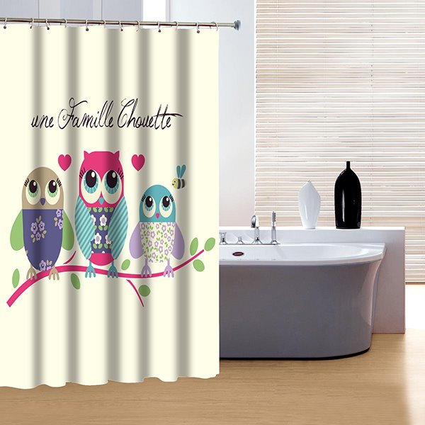Vigorous Lovely Three Colorful Night Owl 3D Shower Curtain