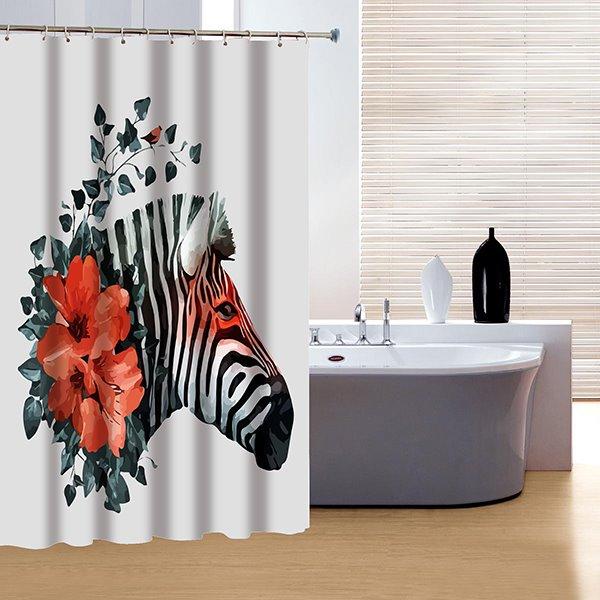 Innovative Design Red Rose and Zebra 3D Shower Curtain