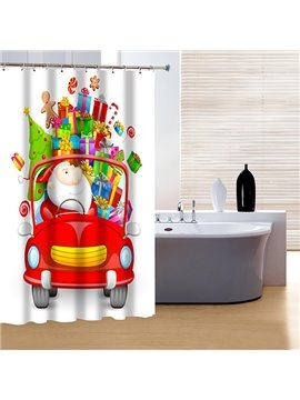 New Festive Happy Santa and Presents Printing Christmas Theme 3D Shower Curtain