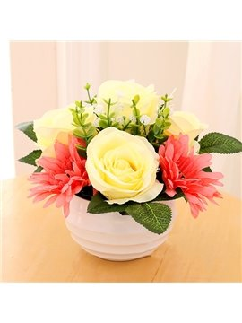 Pretty Yellow Roses and Red Daisy Artificial Flower Set Desktop Decoration