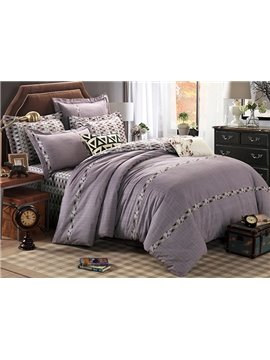 Concise Dark-colored Design Cotton 4-Piece Duvet Cover Sets