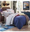 Bright Concise Stripes Design Cotton 4-Piece Duvet Cover Sets