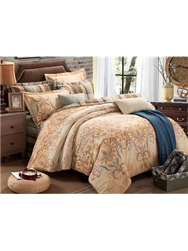 European Jacquard Style Camel 4-Piece Cotton Duvet Cover Sets