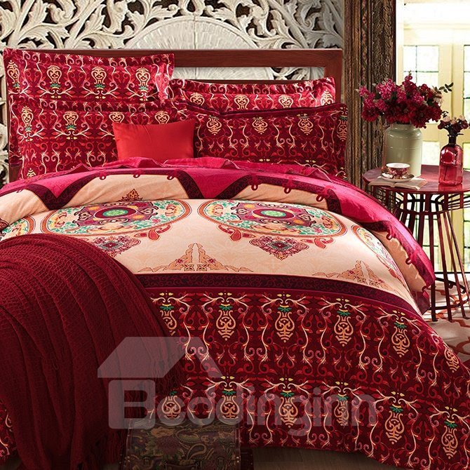 European Vintage Style Cotton 4-Piece Duvet Cover Sets with Hidden Zipper