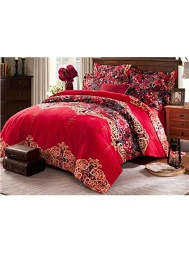 Fiery Red Jacquard Design Cotton 4-Piece Duvet Cover Sets
