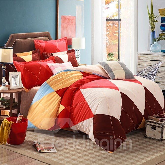 Skincare 100% Cotton Colorful Plaid 4-Piece Duvet Cover Sets