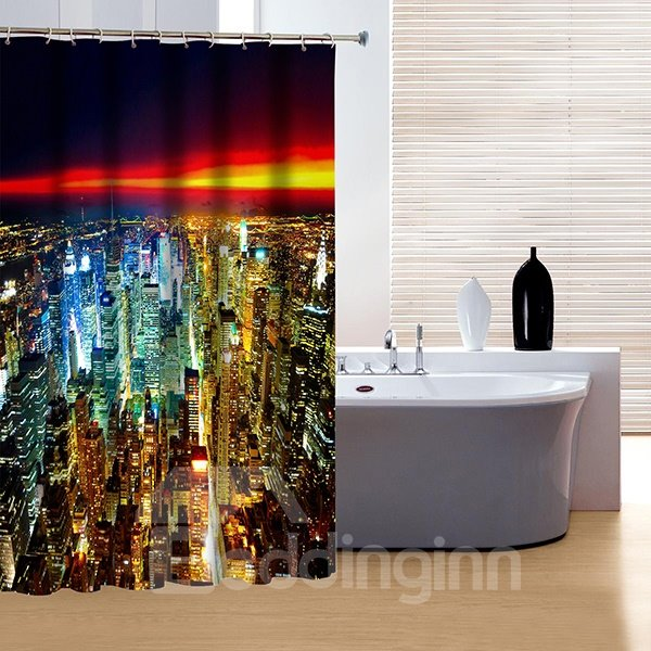 Charming Modern Urban City Night View 3D Shower Curtain