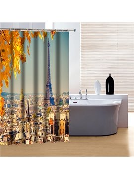 Peaceful Autumn City View and Eiffel Tower 3D Shower Curtain