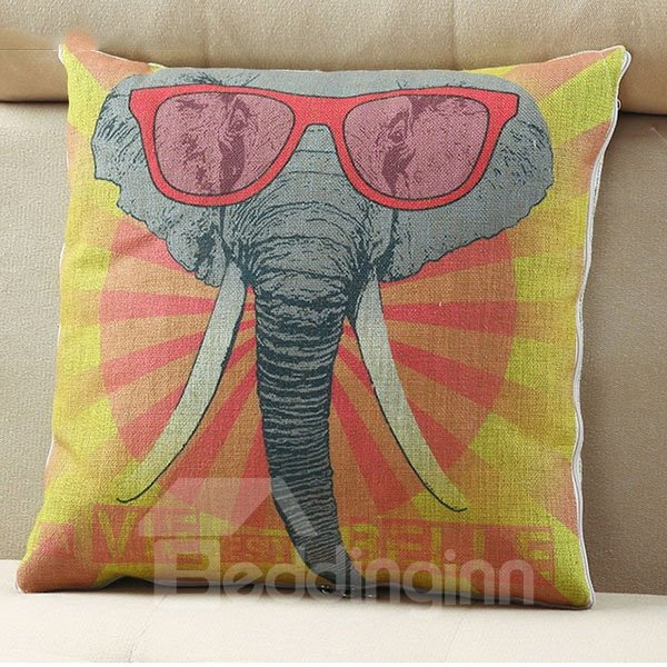 Comfortable Quillow Elephant Patterned Linen Blanket Car Pillow