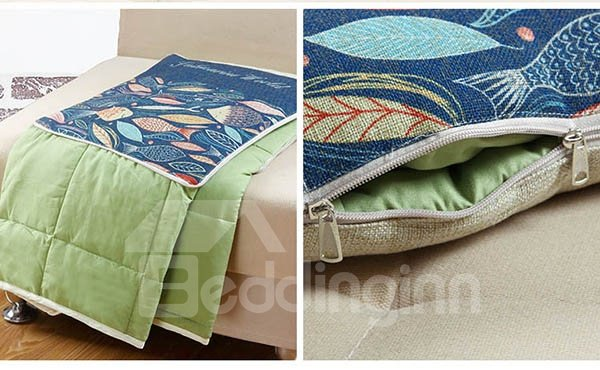 Comfortable Quillow Sea World Patterned Linen Blanket Car Pillow