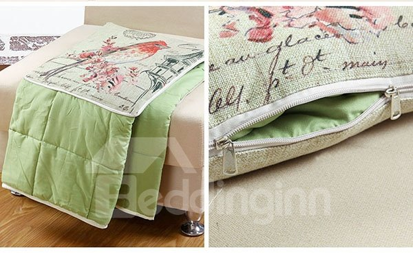 Comfortable Quillow Lintwhite Patterned Linen Blanket Car Pillow