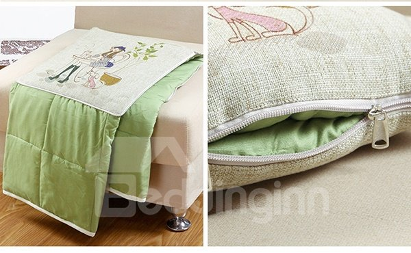 Comfortable Quillow Afternoon Tea Linen Blanket Car Pillow