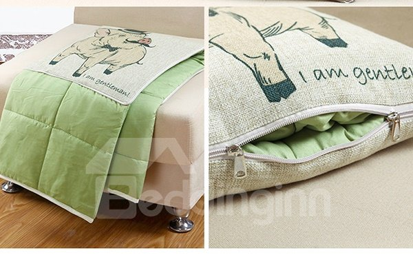 Comfortable Quillow Gentleman Pig Linen Blanket Car Pillow
