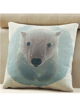 Comfortable Quillow Polar Bear Patterned Linen Blanket Car Pillow