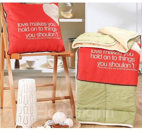Convertable Quillow Red Heart Pattern Linen Blanket Car Pillow