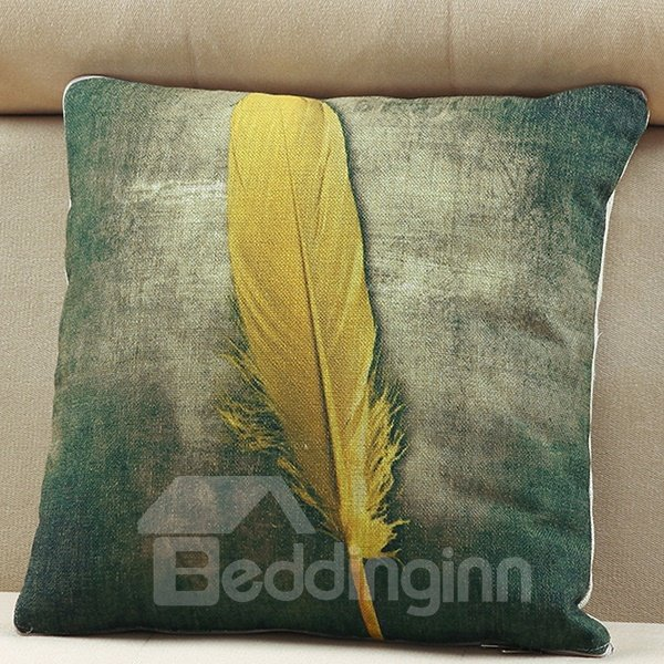 Convertable Quillow Feather Patterned Linen Blanket Car Pillow