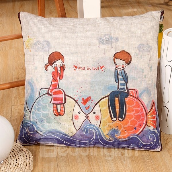 Convertable Quillow Fall in Love Patterned Linen Blanket Car Pillow