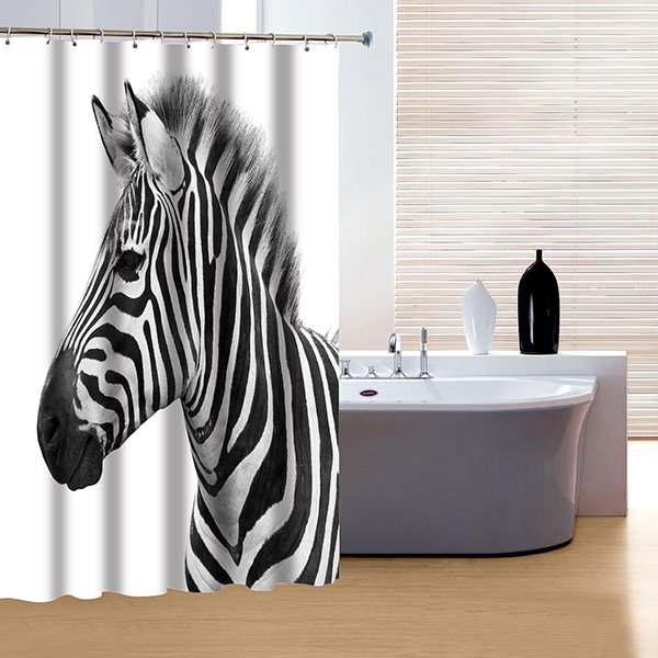 Pretty Concise Zebra Print 3D Shower Curtain