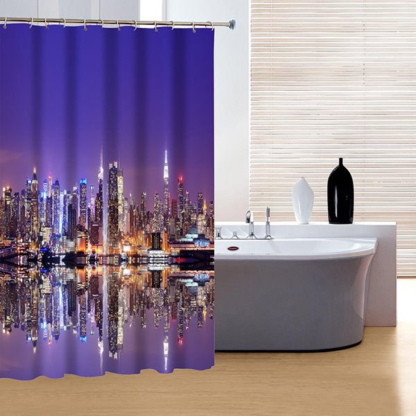 Glamerous Fancy Modern Urban Night Life 3D Shower Curtain
