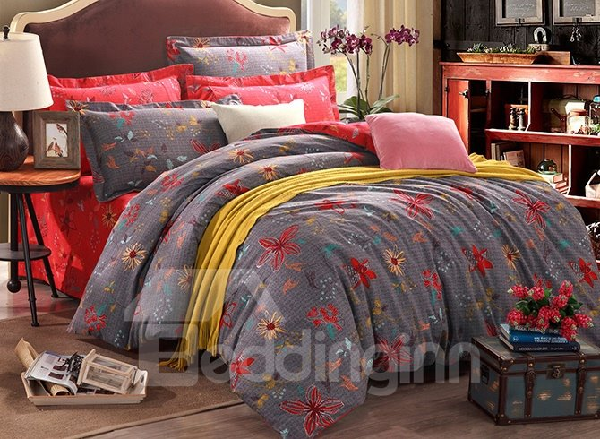 Dark Gay Background with Pretty Flowers Design 4-Piece Duvet Cover Sets