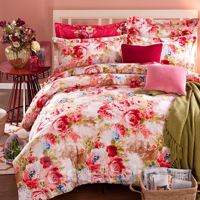 Peonies Print Bright Pink 4-Piece Cotton Duvet Cover Sets