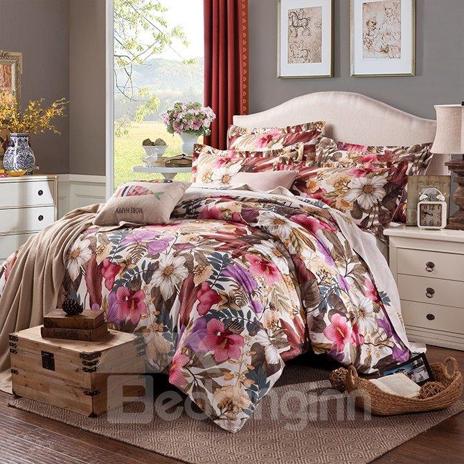 Elegant Colorful Big Flowers Printing Cotton 4-Piece Bedding Sets/Duvet Cover