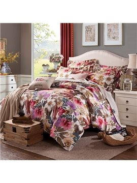 Elegant Colorful Big Flowers Printing Cotton 4-Piece Duvet Cover Sets