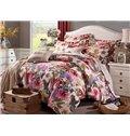 Elegant Colorful Big Flowers Printing Cotton 4-Piece Duvet Cover Sets