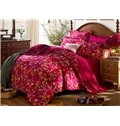 Graceful Flowers Fiery Red Cotton 4-Piece Duvet Cover Sets