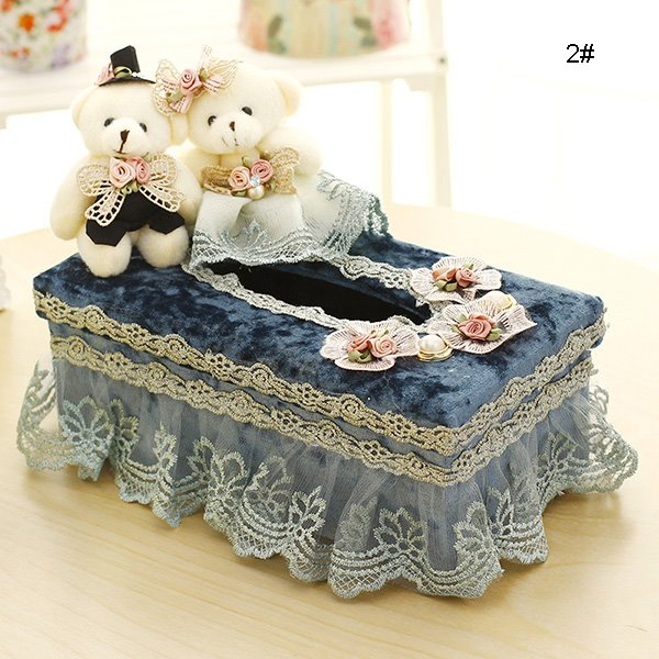 Wonderful Laced Fabric Bear Dolls Tissue Box Desktop Decoration