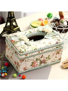 European Style Pastoral Green Lace Tissue Box Desktop Decoration
