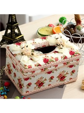 European Pastoral Laced Red Roses Pattern Tissue Box Desktop Decoration