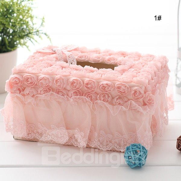 Romantic Roses and Lace Tissue Box Desktop Decoration