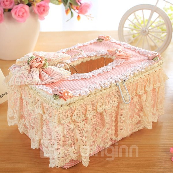 Wonderful Pink Laced Bow Tissue Box Desktop Decoration