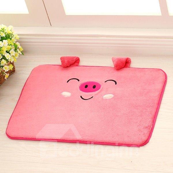 Cute Cartoon Smiling 3D Pink Pig Coral Fleece Doormat