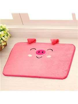 Cute Cartoon Smiling 3D Pink Pig Coral Fleece Doormat